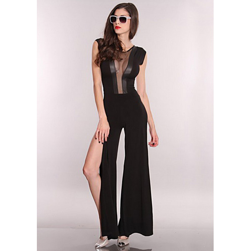 Mesh Cut Out Side Slits Jumper Outfit N5901