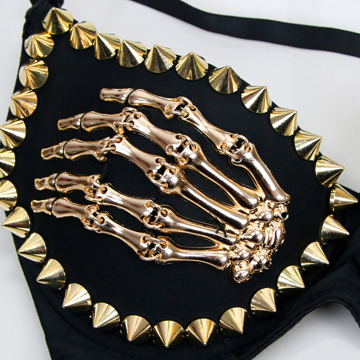 Metal Skeleton Studded Bra Top, Metal Skeleton Bra Top, B Cup Underwire Bra Top, #N6396