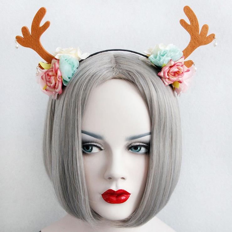 Mignon Girl's Flower Christmas Deer Ear  Hairband J12854
