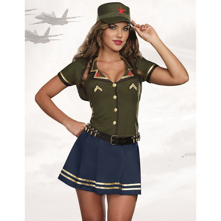 Sexy Army Costume, Temptation Military Costume, Sexy Self-Tie Military Costume, #N11486