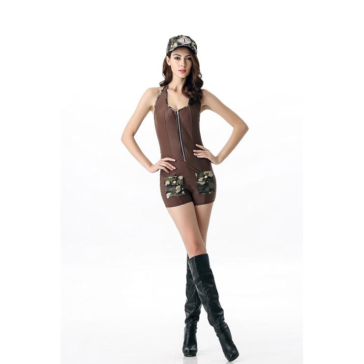 Sexy Army Costume, Temptation Military Costume, Sexy Self-Tie Military Costume, Soldier Costume, Cheap Halloween Costume, Women