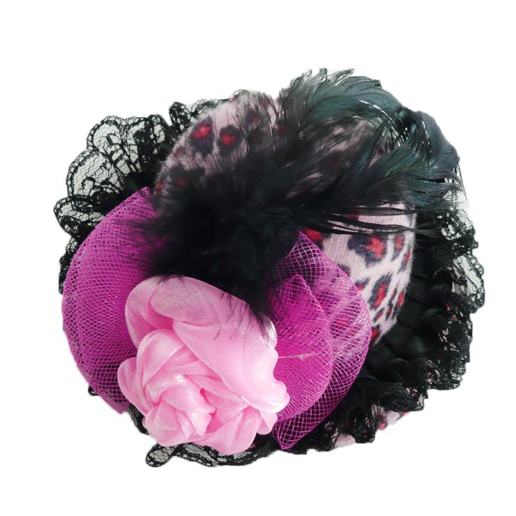 Pink Feather Leopard Print Rose Bowkot Mini Top Hat J7077