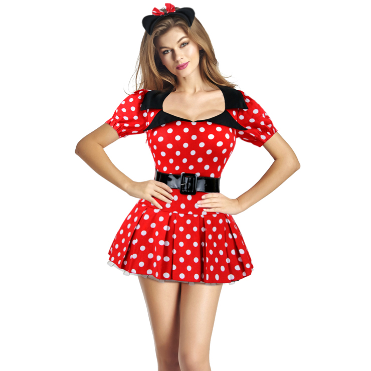 Sexy Miss Mouse Dots Short Sleeves Mini Dress CP8007