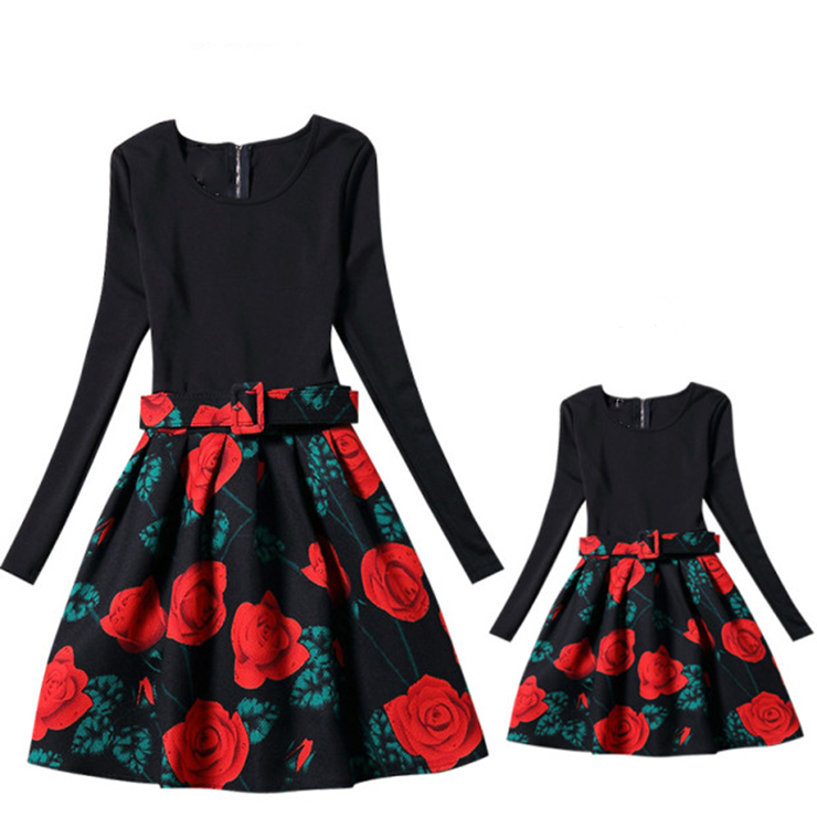 Mom and Daughter Matching Dresses Sleeveless Stripe Flower Printed Casual Party A-Line Dress Parent-Child Outfits