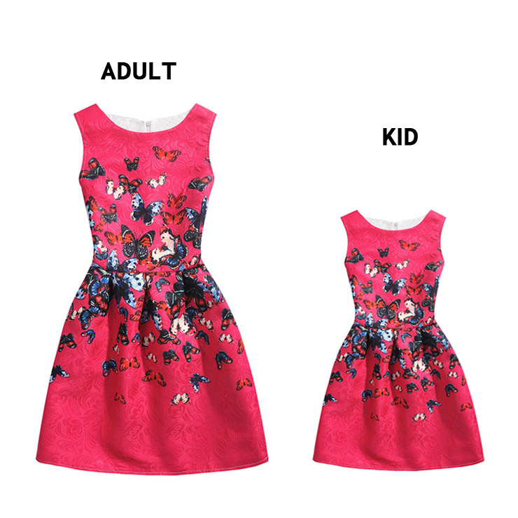 8dc5e0339c95 Mother and Daughter Vintage Hot-Pink Sleeveless A-Line 50 s Butterfly Print  Playwear Swing Dress N15486