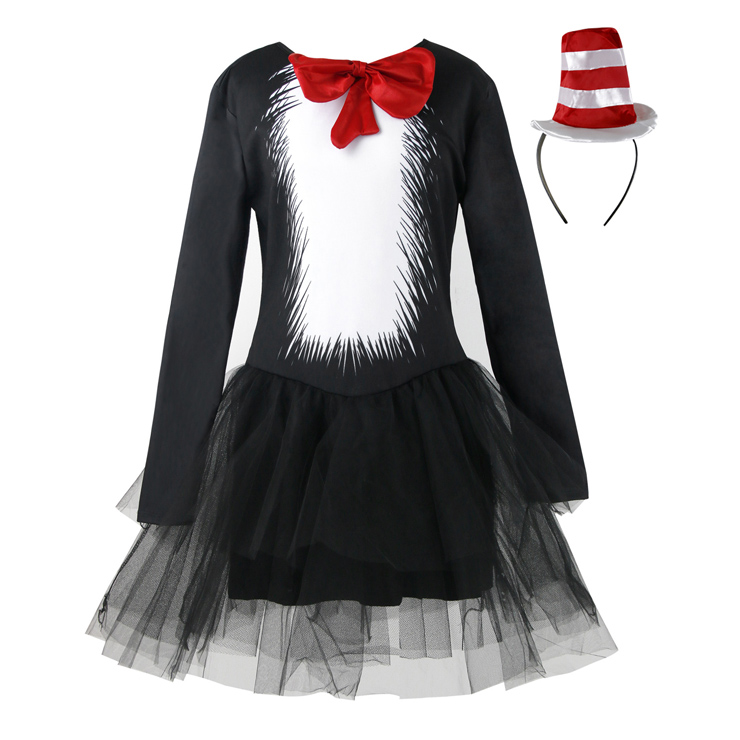 Womens Movie Character Cat Black Mesh Dress Cosplay Halloween Adult