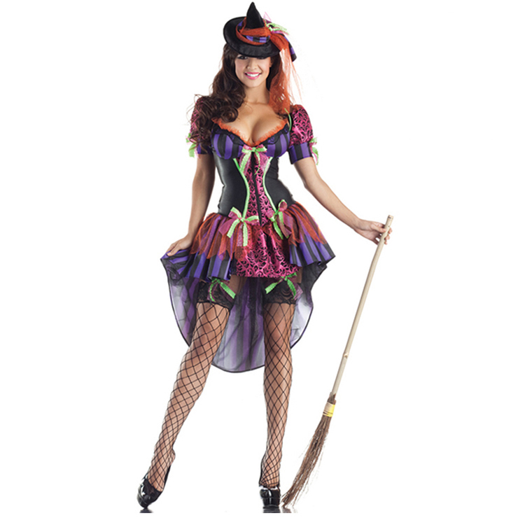 Sexy Nitty Purple Deep-V Hi-Lo Puff Sleeves Floral Printed Adult Witch  Halloween Costume N9123