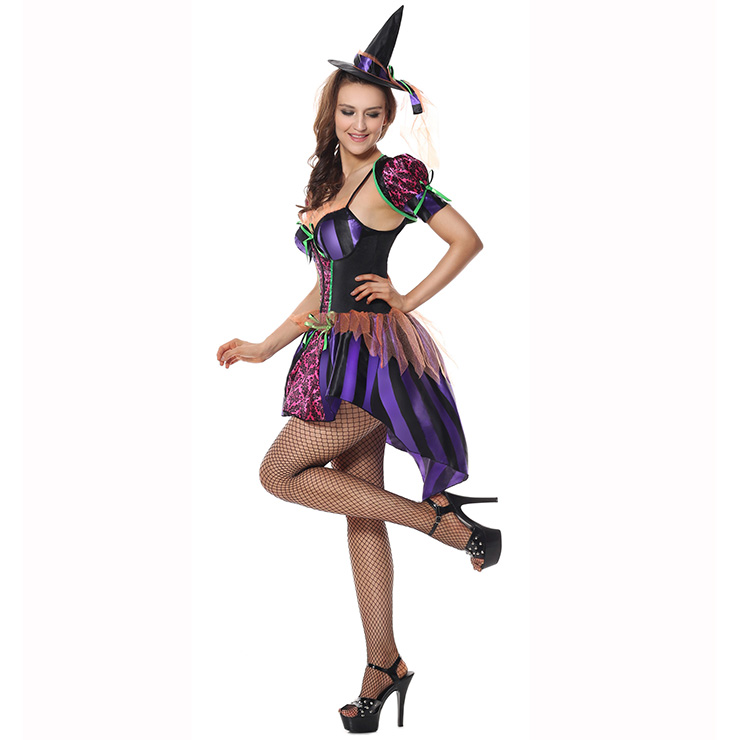 Naughty But Nice Witch Costume, Girls Witch Costume, Kindhearted Witch Costume, Sexy Witch Halloween Costume, Purple Witch Costume, Purple Witch Halloween Adult Costume#N9123