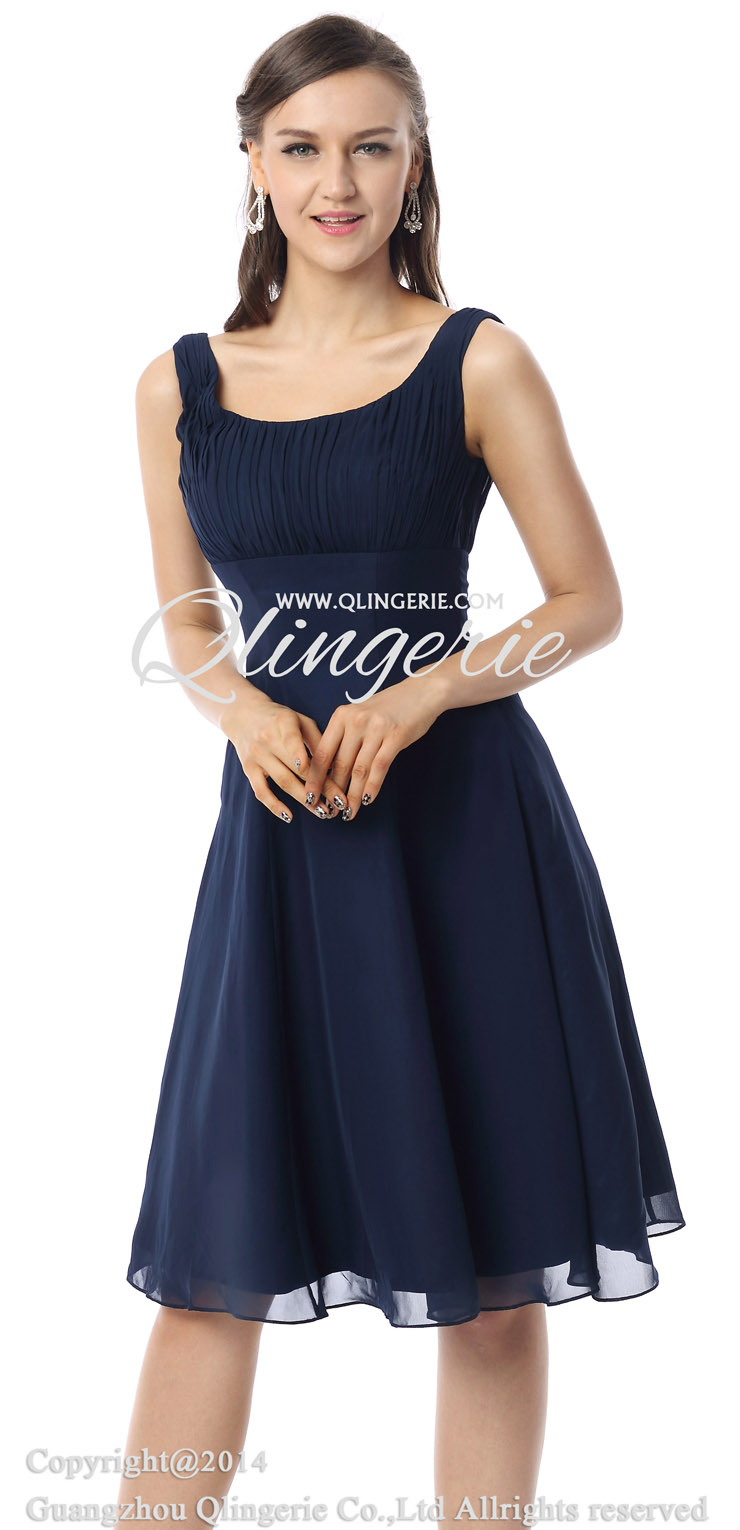 Navy Blue Short Homecoming Dresses with Straps 2015