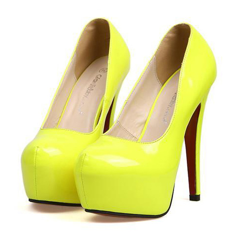 Neon Yellow Japanned Leather High heels SWS12056