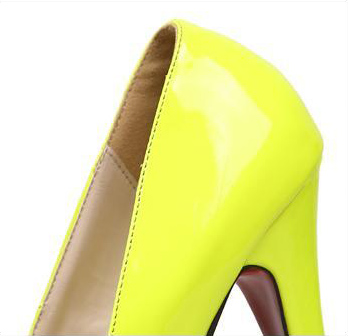 Neon Yellow Japanned Leather High heels SWS #2: o Neon Yellow Japanned Leather High heels SWS 6 57 551