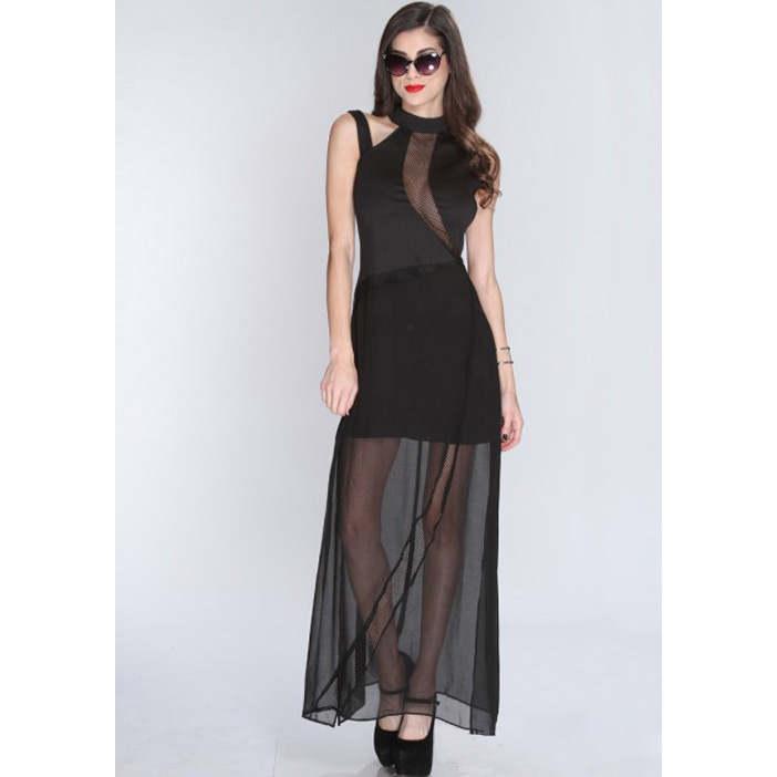 Netted Cut Out Mock Neck Sexy Gown N8024