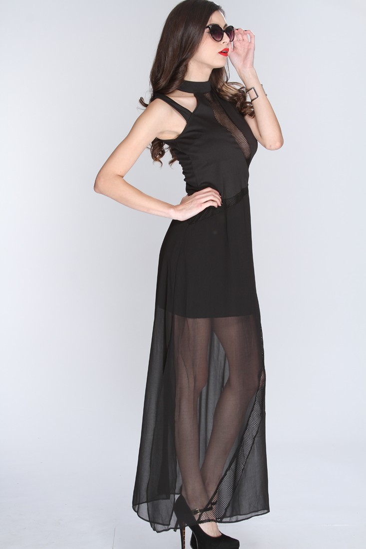 Mesh in the Bottom Gown, Netted Cut Out Sleeveless Gown, Black Mesh and Knit Dress, #N8024
