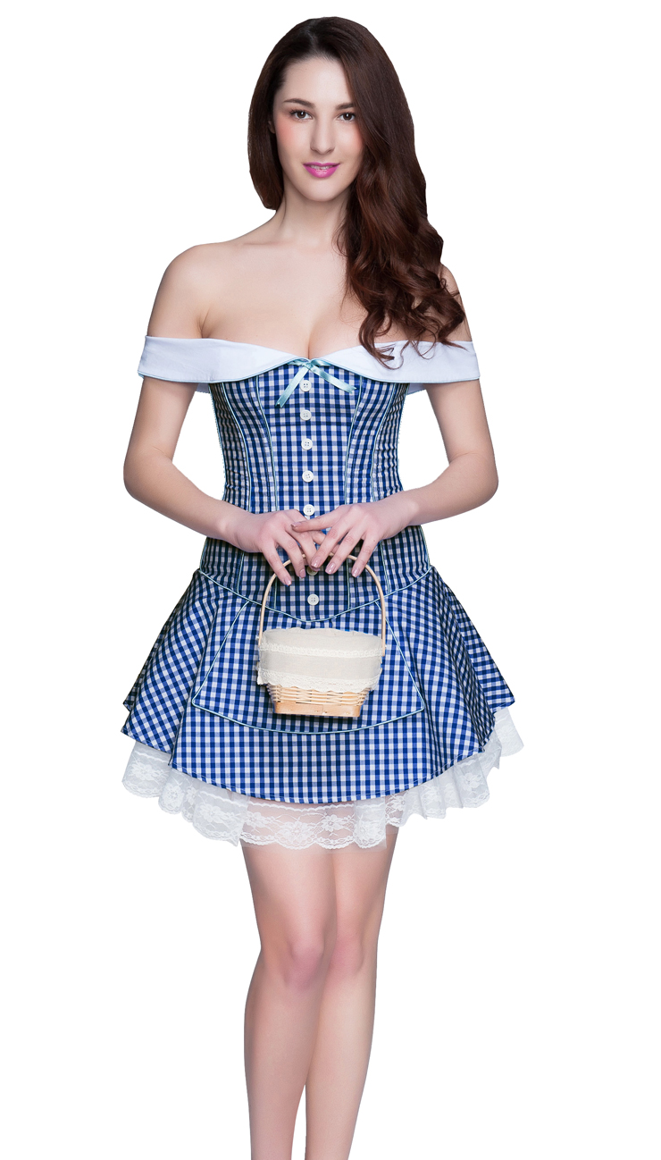 Fashion Blue Plaid Pattern Corset Dress, Sexy Off-the-shoulder Corset Dress, Cheap Party Dress, Zipper Back Corset Dress, #N10576