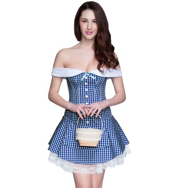 New Fashion Blue Plaid Off-the-shoulder Corset Dress N10576