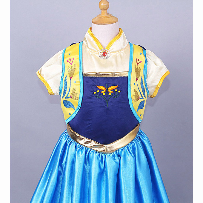 2015 New Frozen Girl Dress, Frozen Fever Kid Costume, Frozen Fever Anna Kid Costume, Cheap Girl Princess Dress, #N10348