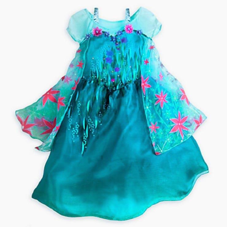 2015 New Frozen Fever Elsa Kid Princess Dress Costume N10347
