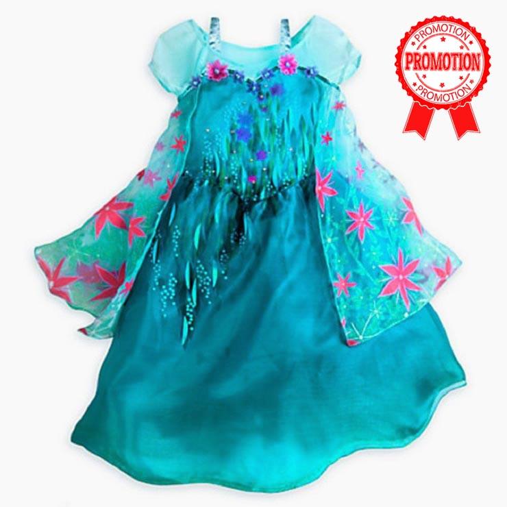 New Frozen Fever Elsa Kid Princess Dress Costume N10347