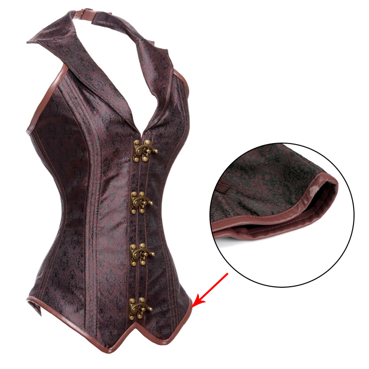Fashion Noble Brown Halter Jacquard Steel Boned Outerwear Corset With A Little Defect N20616