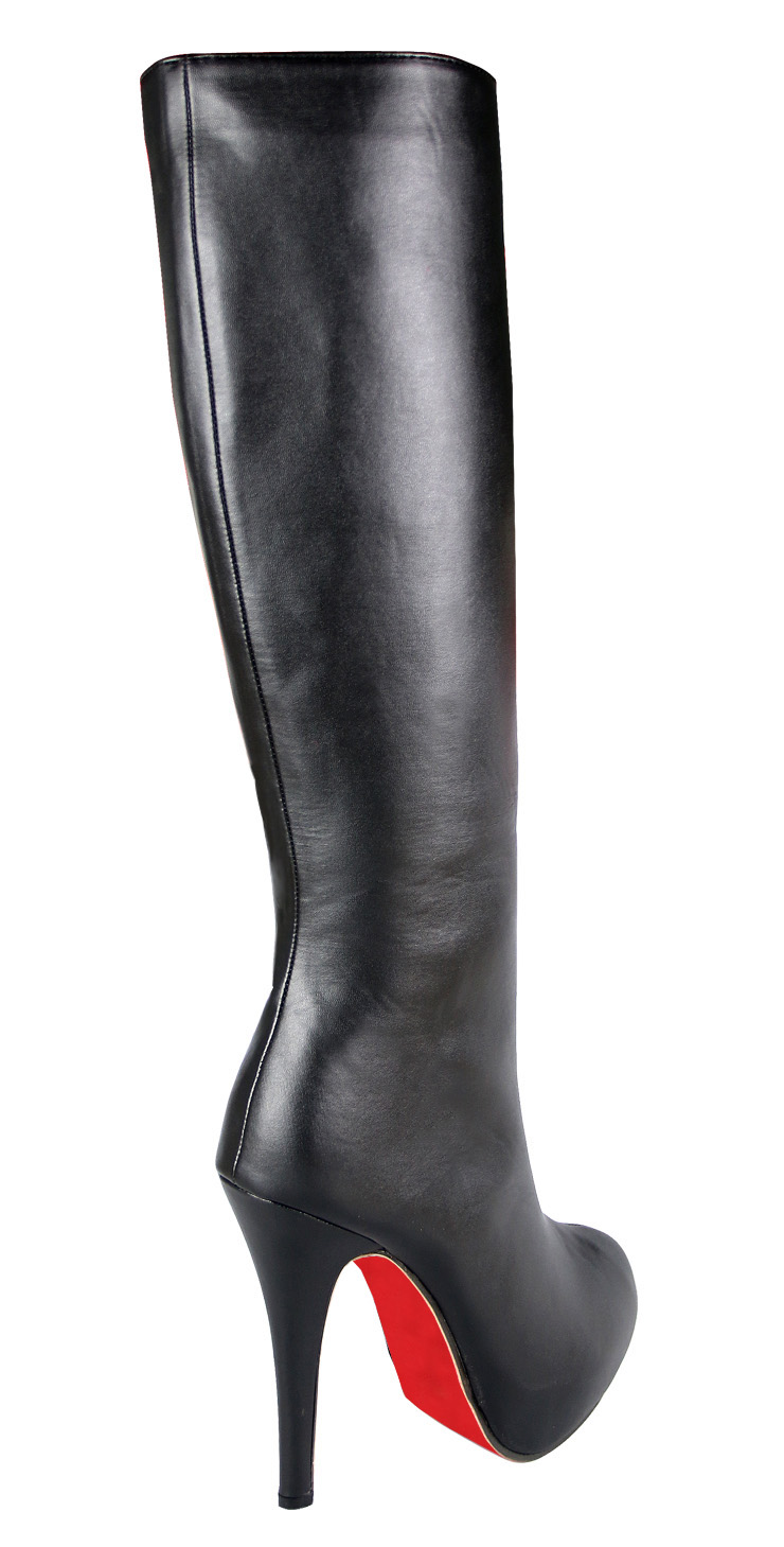92f2ac9d01b Noble Lady Black Faux Leather Knee-high Boots SWB20283