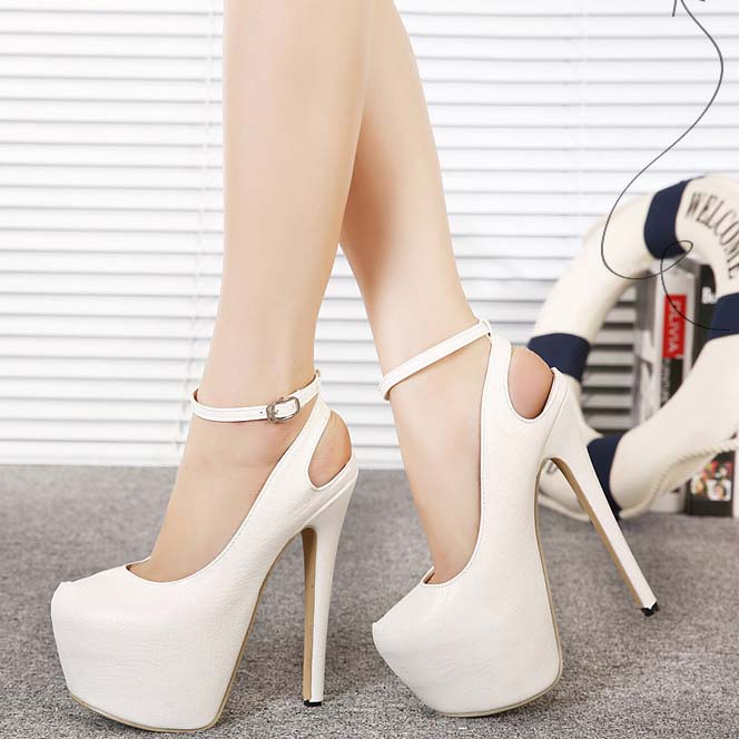 Noble White Leather High Heel Sandals SWS20351