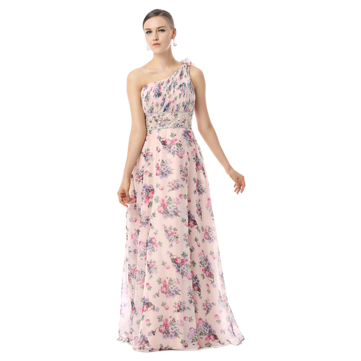 ccb2c7e14abd 2018 Nostalgic One-shoulder Sleeveless Ruffles Nipped Waist Crystal Flower  Print Floor-Length Prom Dresses F30027