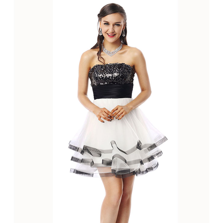 2018 Nostalgic Black and White A-line Strapless Empire Sequins Lace Short Homecoming Dresses Y30055