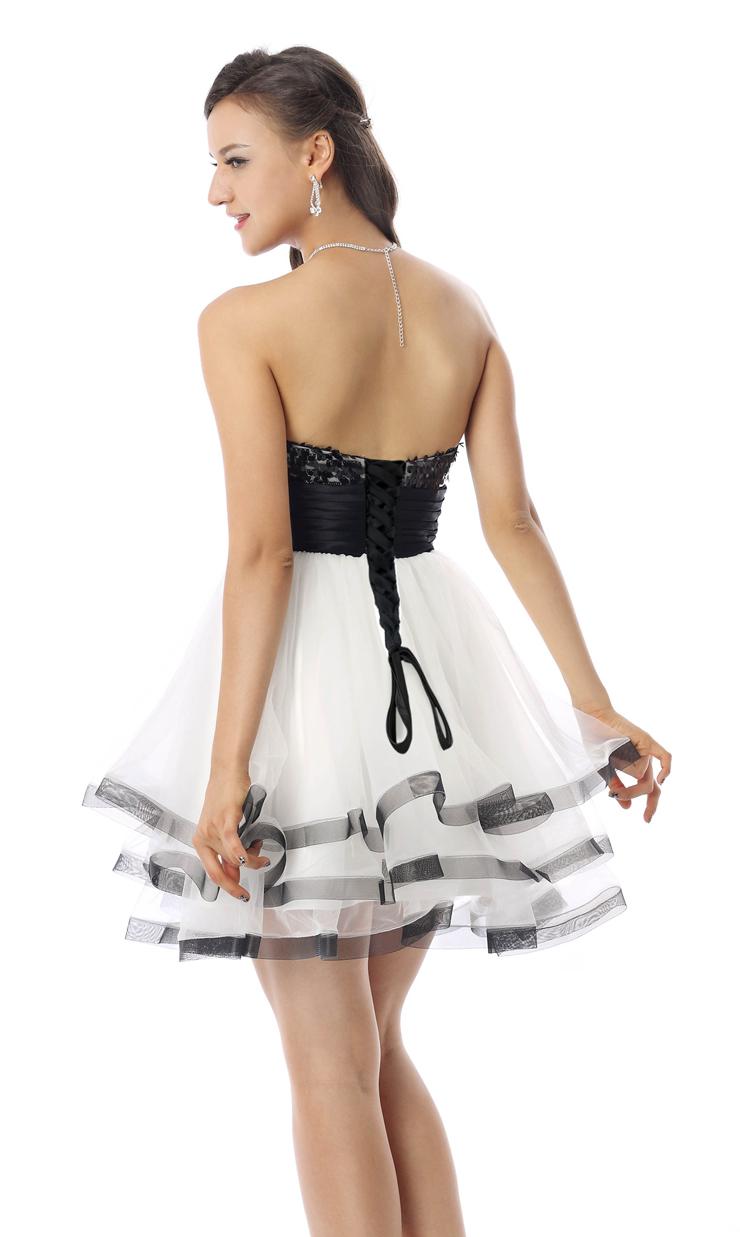 Cheap Homecoming Dresses, Girls Black and White Dress, Hot Selling Sweet 16 Dress, Pretty Girls Dress, #Y30055