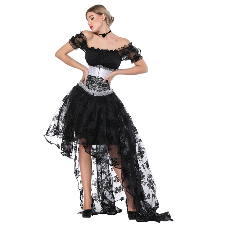 Gothic Off Shoulder Crop Top with Underbust Corset High Low Skirt Sets N18223