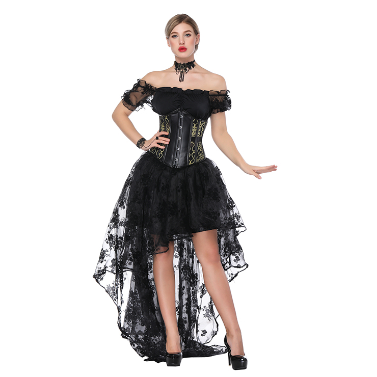 Gothic Off Shoulder Crop Top with Underbust Corset High Low Skirt Sets N18224