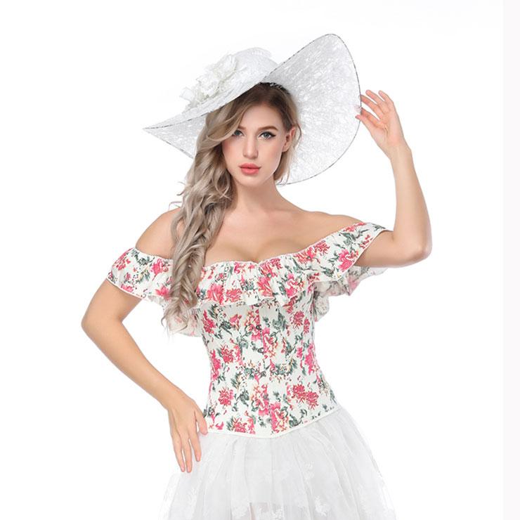Fashion Off Shoulder Floral Print Plastic Bone Shapewear Overbust Corset N17293