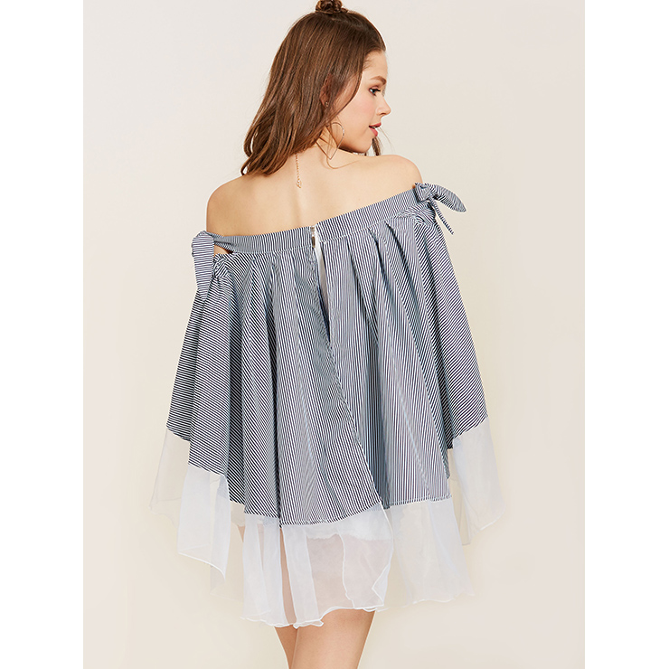 Sexy Blouse Tops, Blue Blouse for Women, Off Shoulder Tops for women, Slash Neck Blouses, Office Lady Casual Blouses, #N14518