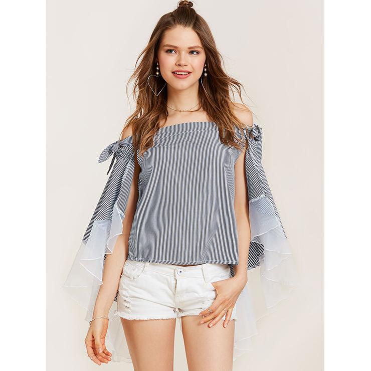 Women's Off Shoulder Slash Neck Long Sleeve Stripe Loose Cape Blouse N14518