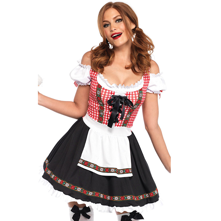 Sexy Off-shoulder Bavarian Beer Girl Role Play Mini Dress Adult Oktoberfest Costume N18958