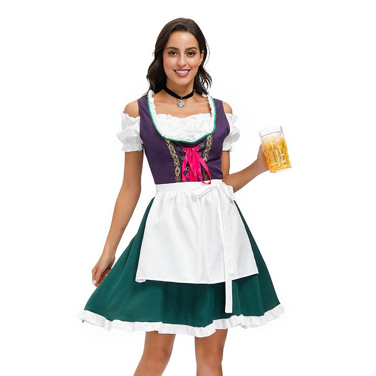 Sexy Off-shoulder Bavarian Oktoberfest Beer Girl Mini Dress Carnival Halloween Costume N20588
