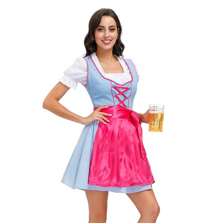 3PCs Women's Bavarian Beer Girl Cosplay Blue Dress Adult Oktoberfest Costume N20590