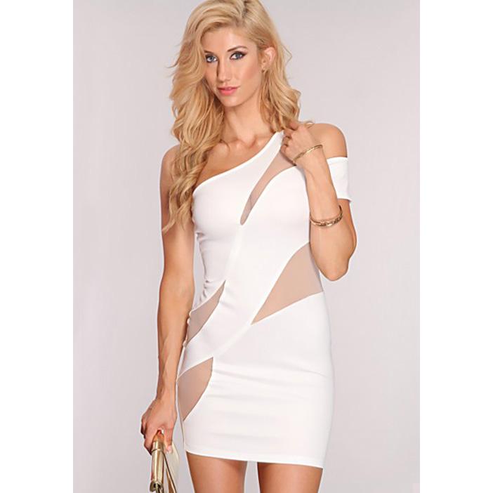 One Shoulder Mesh Insert Dress N8344