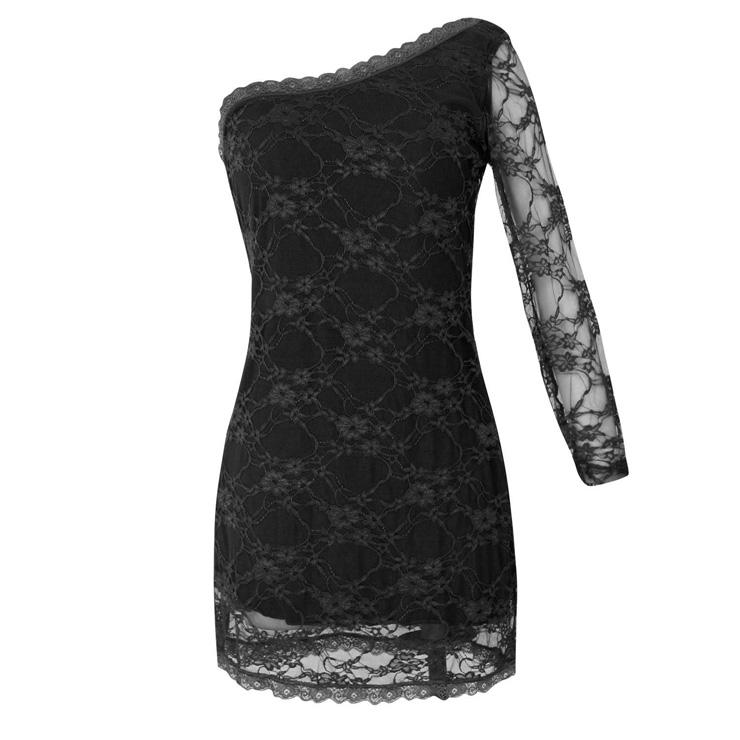 22588b6ba4 Sexy Black Sheer Floral Lace One-shoulder Clubwear Bodycon Mini Dress N4593