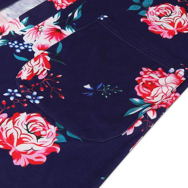Flower Print Overcoat , Women