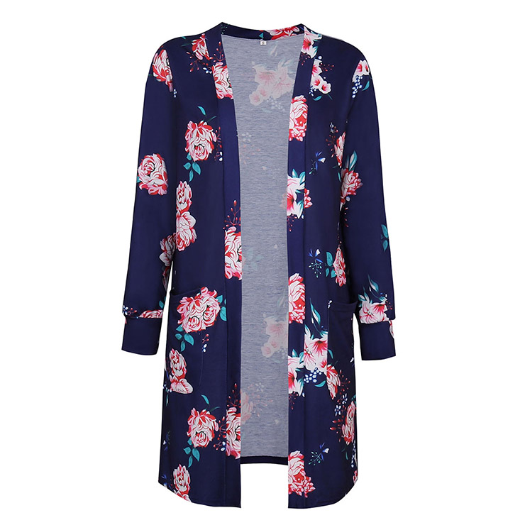 Women's Open Front Floral Print Pocket Long Sleeve Casual Coat N14561