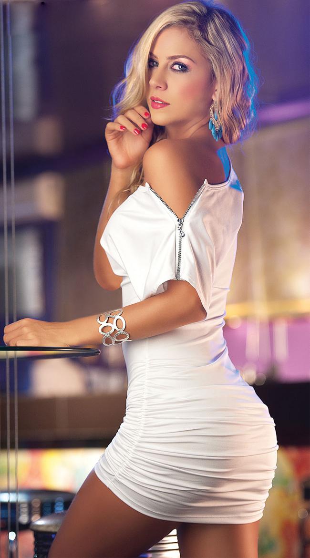 Open Sleeve Mini Dress, Short Sleeve Dress, Boat Neck Dress, #N4980