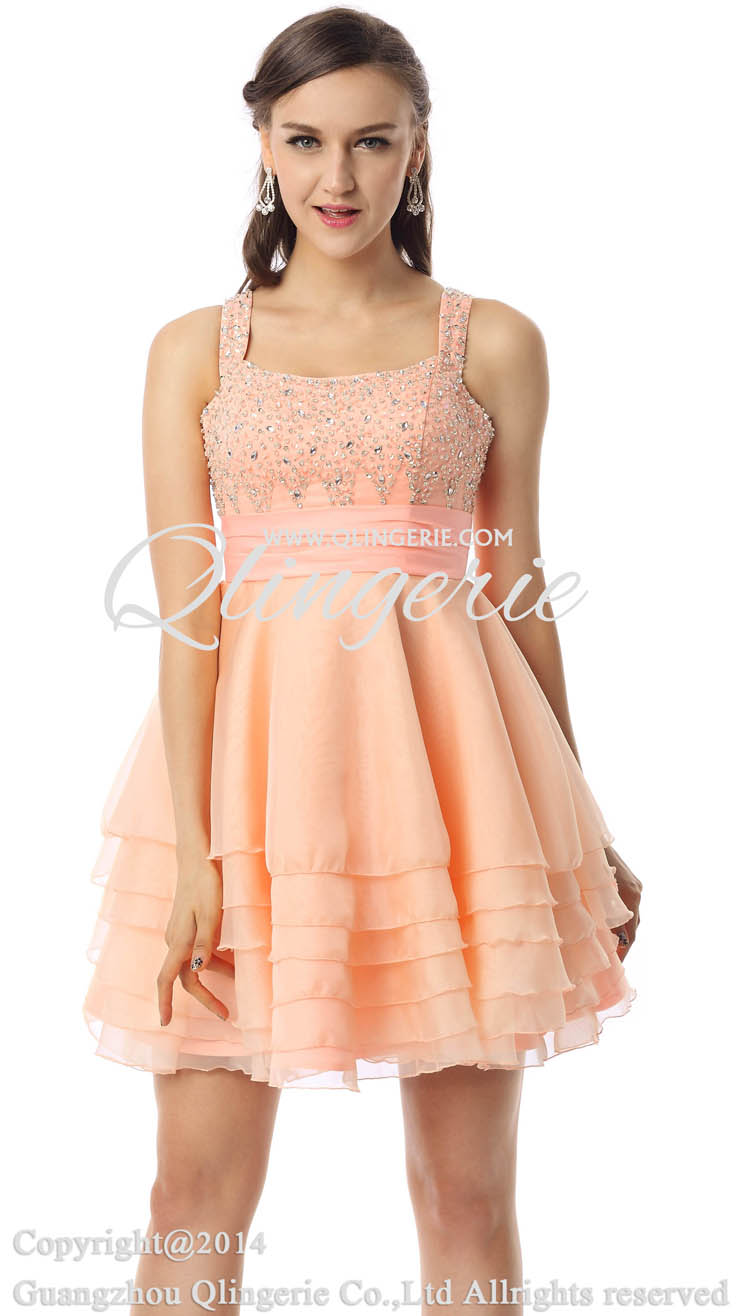 2018 Lovely Light Coral Square Neck Straps Ruffles Chiffon