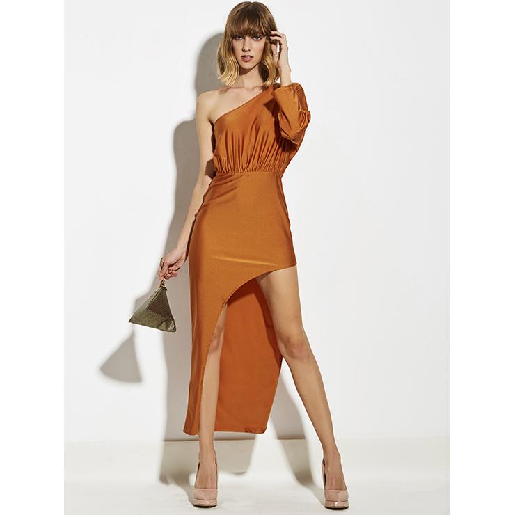 Women's Fashion Orange Red One Shoulder Oblique Collar Asymmetrical Maxi Dress N14938