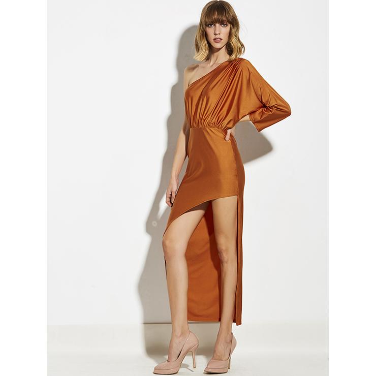 Oblique Collar Maxi Dress, 3/4 Sleeve Maxi Dress, Casual Maxi Dress, Maxi Dresses for Women Casual, One Shoulder Maxi Dress, #N14938