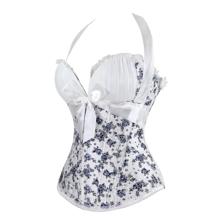 Organza and Blue Floral Brocade Corset, White Organza and Floral Brocade Corset, Halter White Floral Brocade Corset, #N8135