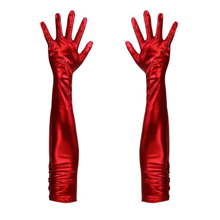 Red Long Wetlook PVC Gloves HG12701