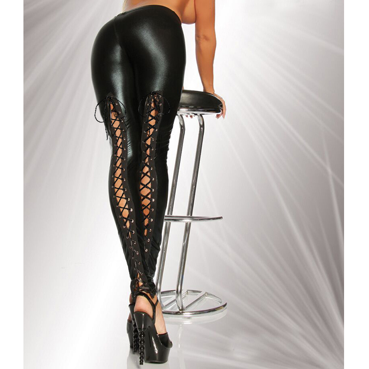 c7a847baec2 Sexy Black PVC Wet Look Lace Up Dancing Legging Clubwear N12460