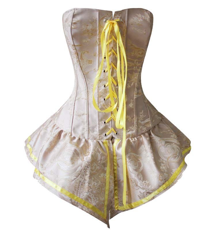 2908d5a4f6b Palace Style Yellow Brocade Lace-up Corset with Skirt N10893