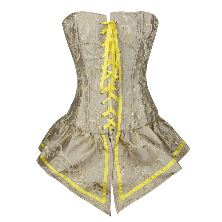 Palace Style Yellow Brocade Lace-up Corset with Skirt N10893