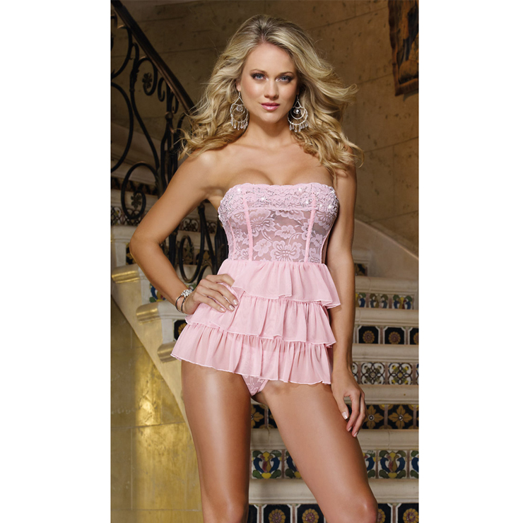 Pale Pink Babydoll And Thong N1756